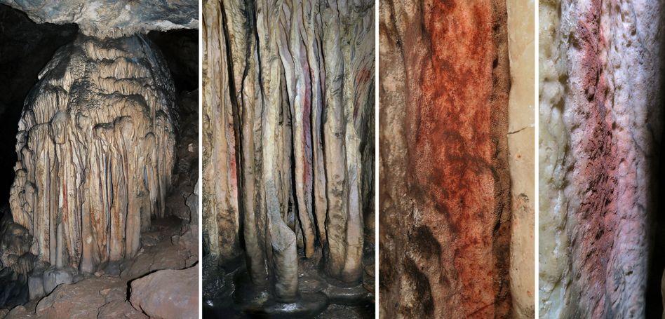 Tropfsteine mit roten Markierungen in der Höhle Cueva de Ardales