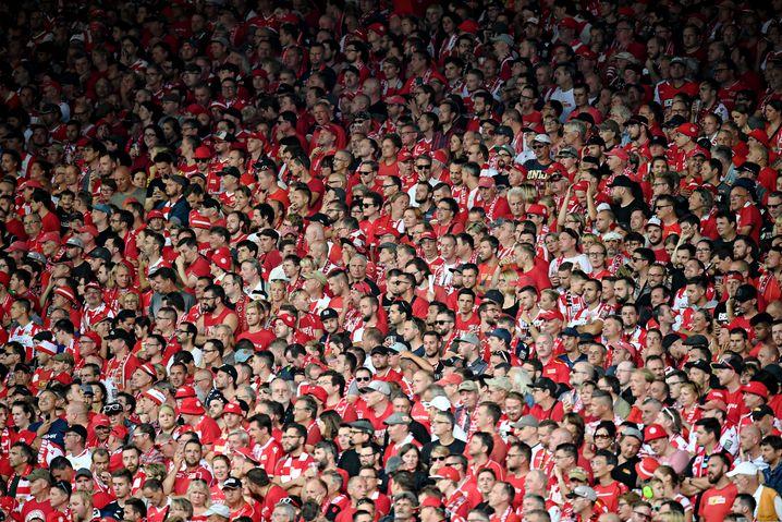 Anhänger von Union Berlin im August 2019 im Stadion an der Alten Försterei