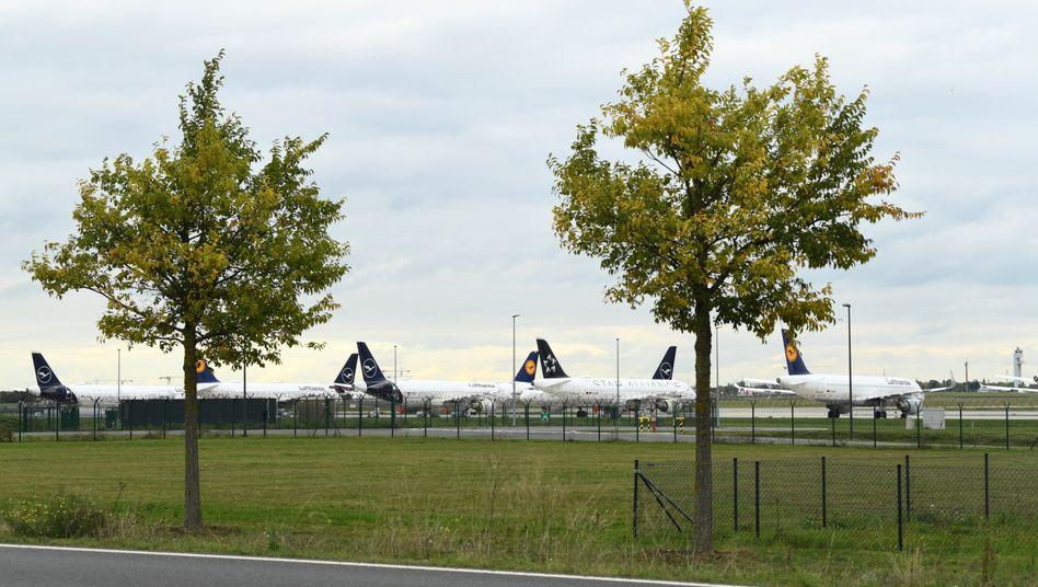 Lufthansa-Maschinen parken auf dem Gelände des BER, der demnächst eröffnet
