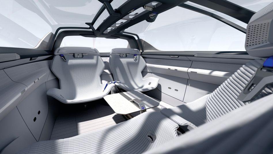 Innenansicht eines autonomen Autos.