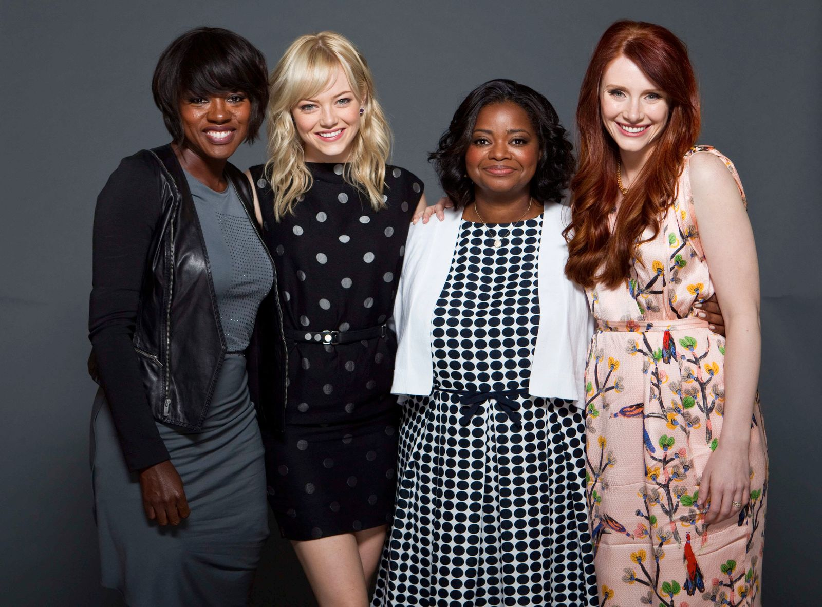 Viola Davis, left, Emma Stone, Octavia Spencer and Bryce Dallas Howard,