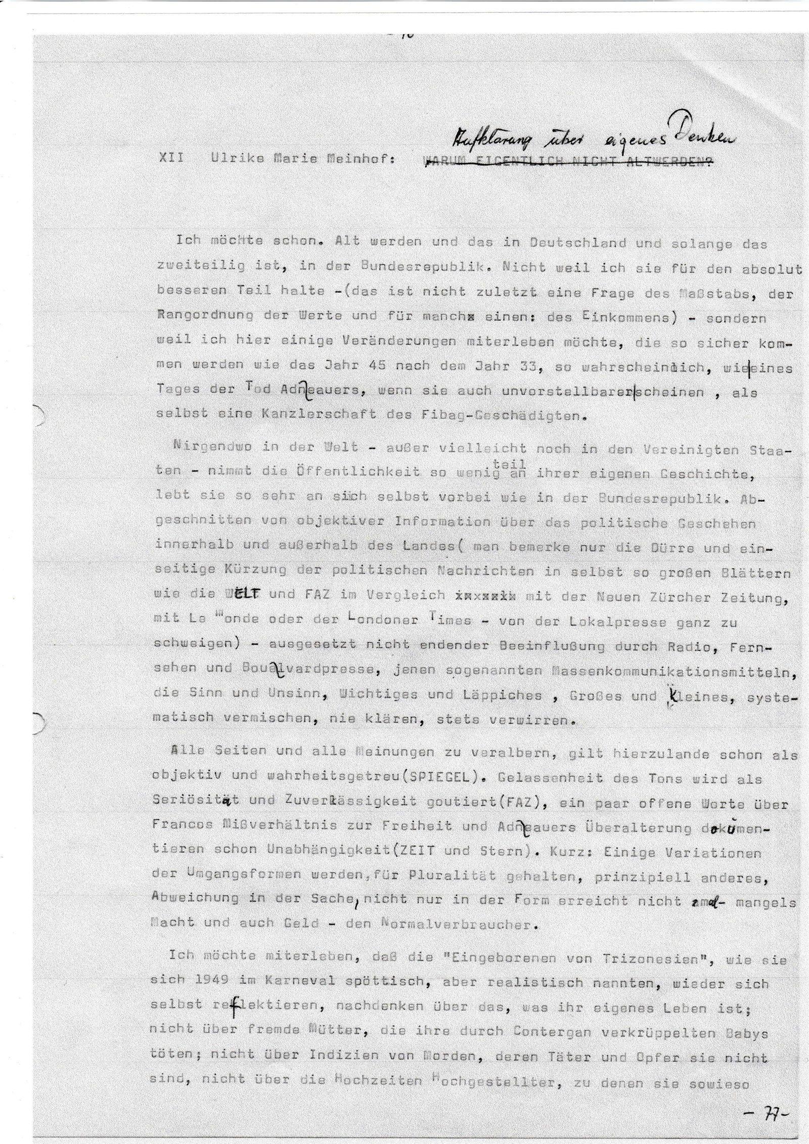EINMALIGE VERWENDUNG SPIEGEL Plus SPIEGEL 33/2016 S.118 Ulrike Meinhof