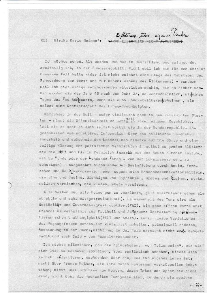 Teil des Meinhof-Typoskript