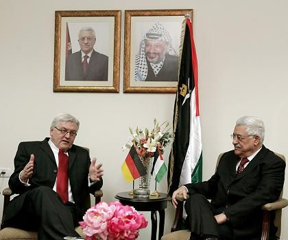 German Foreign Minister Frank Steinmeier (left) meets Palestinian President Mahmoud Abbas in the West Bank city of Ramallah.