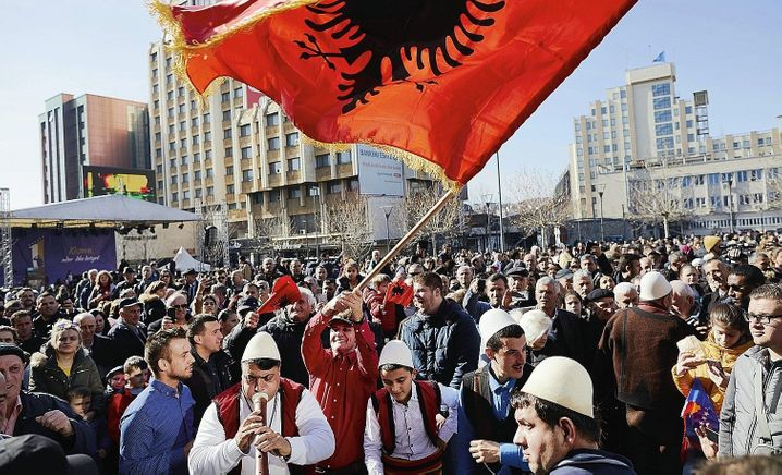 A crowd in Pristina, Kosovo, celebrates Independence Day in the country in 2019.