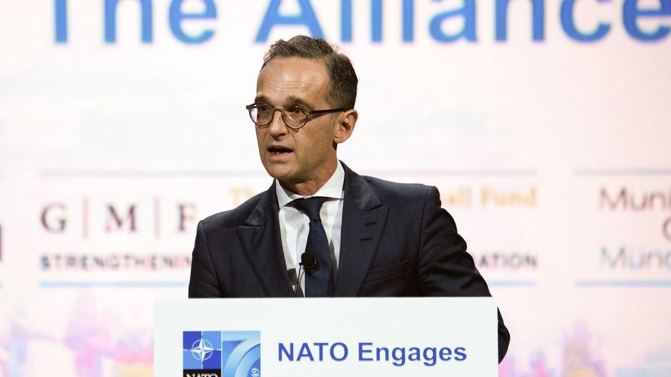Heiko Maas spricht in Washington auf einer Veranstaltung zum 70-jährigen Bestehen der Nato