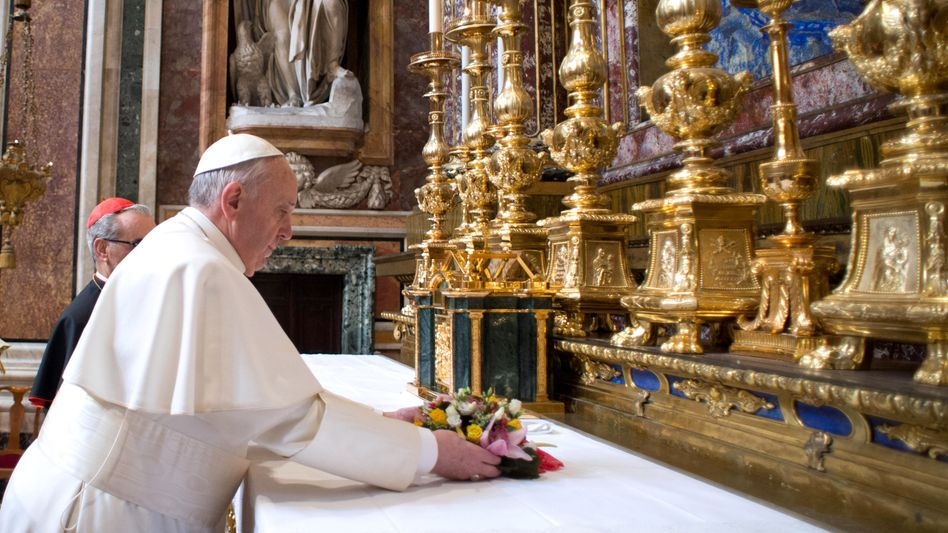 Pope Francis, formerly Archbishop of Buenos Aires Jorge Mario Bergoglio, at a private mass in Rome on Thursday