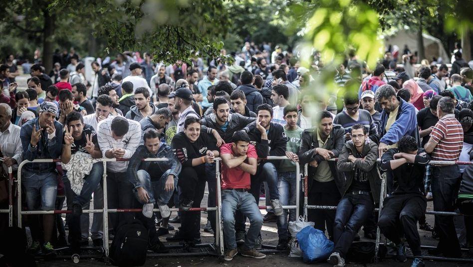 Asylbewerber an der zentralen Aufnahmestelle in Berlin-Moabit