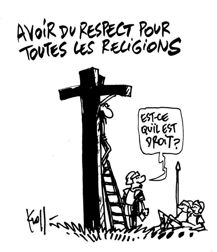 """Respekt vor allen Religionen haben. """"Hängt er gerade?"""" (Wortspiel: Liegt er richtig?) Zeichnung: Pierre Kroll"""