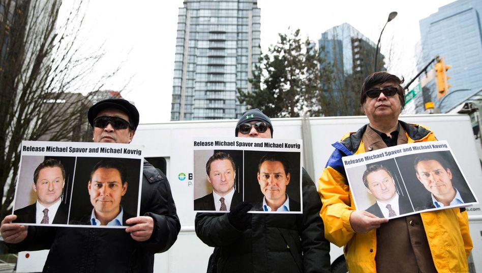 Protest gegen die Festnahme der beiden Kanadier (im März 2019) in Vancouver, Kanada