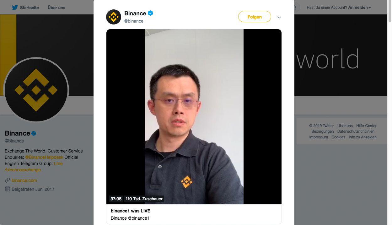NUR ALS ZITAT Screenshot Twitter/ Binance/ Changpeng Zhao
