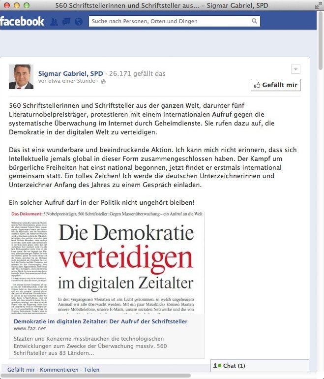 Gabriel-Post auf Facebook: Kritik für die Vorratsdatenspeicherung