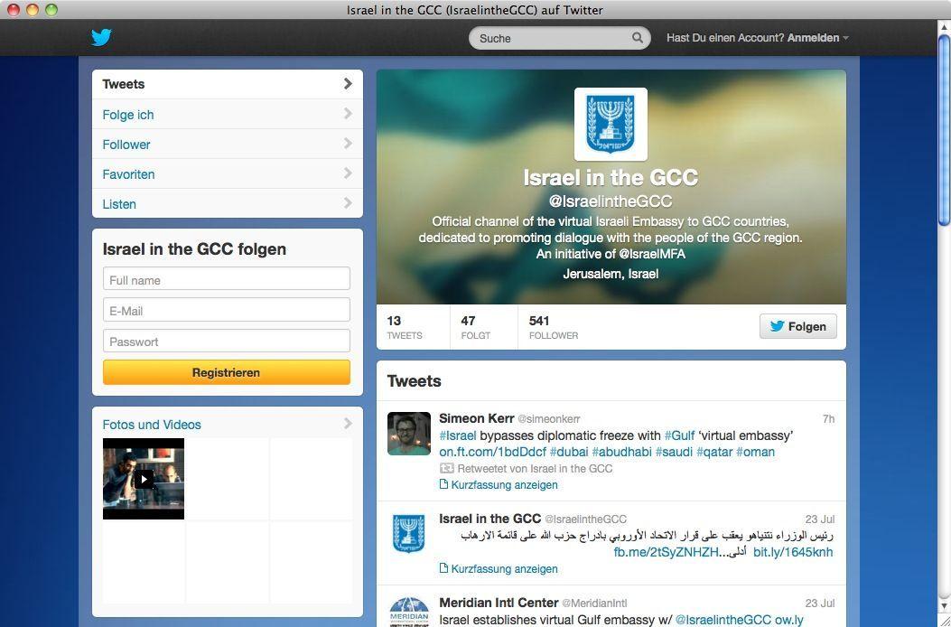 NUR ALS ZITAT SCREENSHOT Twitter/ Israel in the GCC