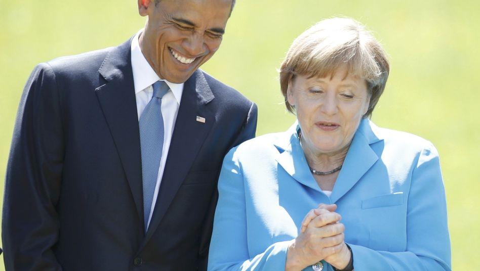 G7-Gipfel: Merkel und Obama lächeln den Spionage-Ärger weg