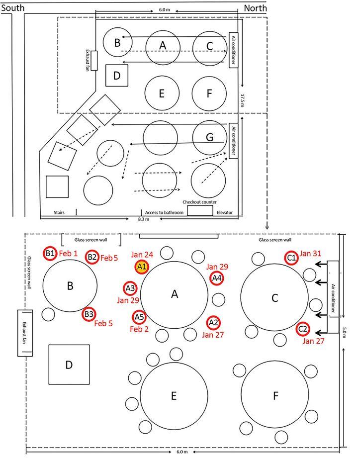 Die obere Skizze zeigt die mögliche Luftbewegung durch die Klimaanlage, die untere Skizze den Sitzplan der Familien; der Ursprung der Infektionskette ist wahrscheinlich Person A1