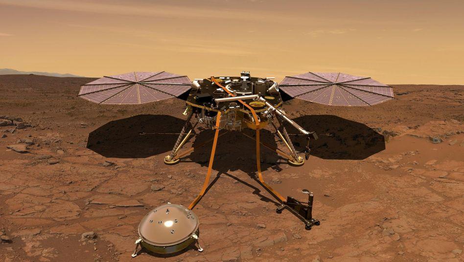 """Grafische Darstellung von """"Insight"""" auf dem Mars: Die Sonde ist Ende November 2018 gelandet und soll mindestens noch bis Ende dieses Jahres Daten sammeln"""