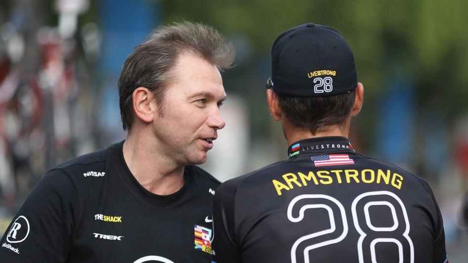 Brunyeel (l.), Armstrong (2010): Kopf sämtlicher Doping-Aktivitäten