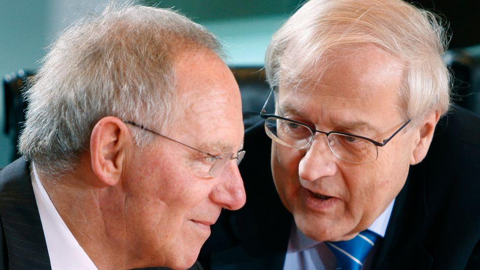 """Finanzminister Schäuble mit Wirtschaftsminister Brüderle: """"Mein Vertrauen ist unbegrenzt"""""""