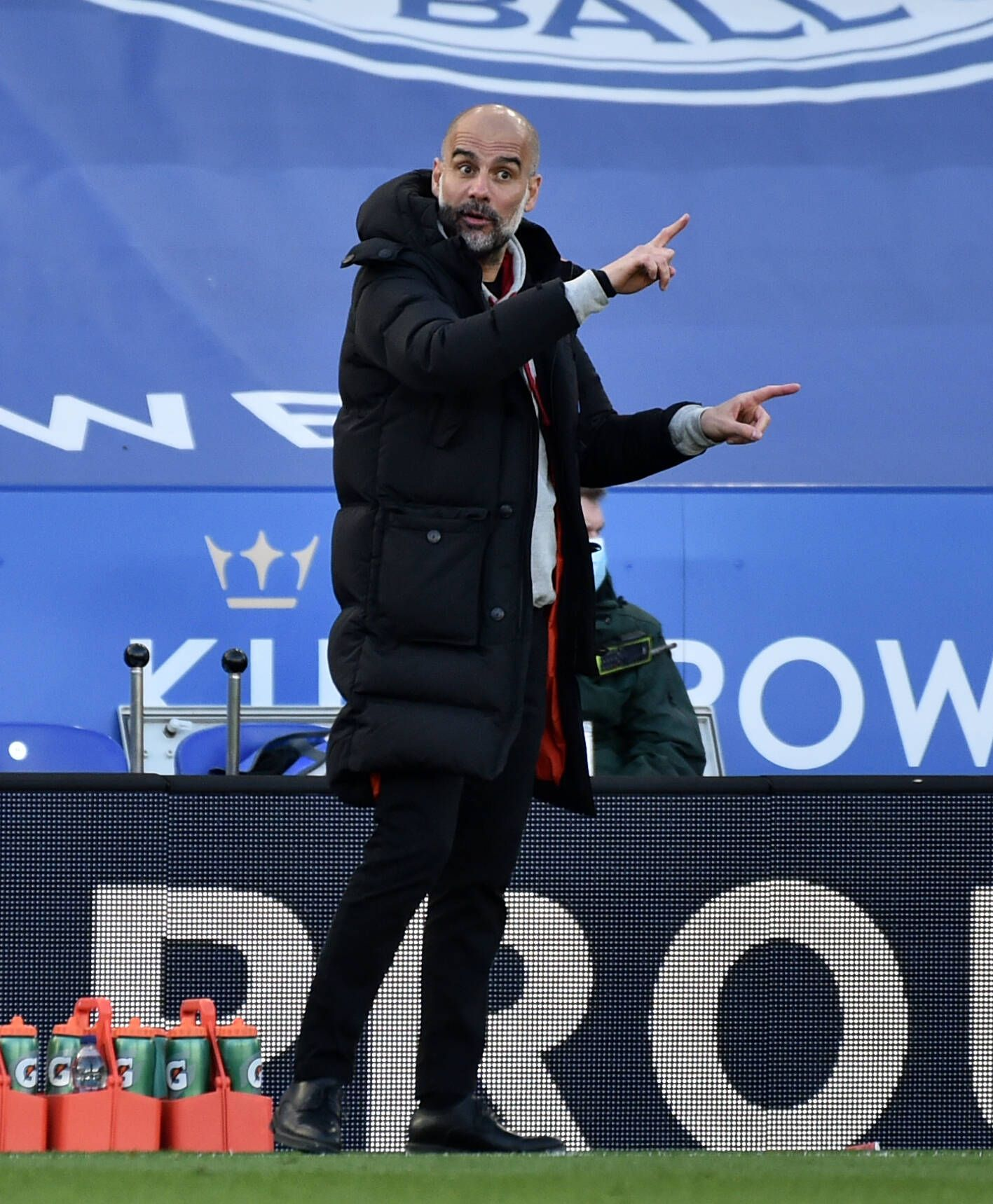 Leicester City v Manchester City - Premier League - King Power Stadium Manchester City manager Pep Guardiola gestures on