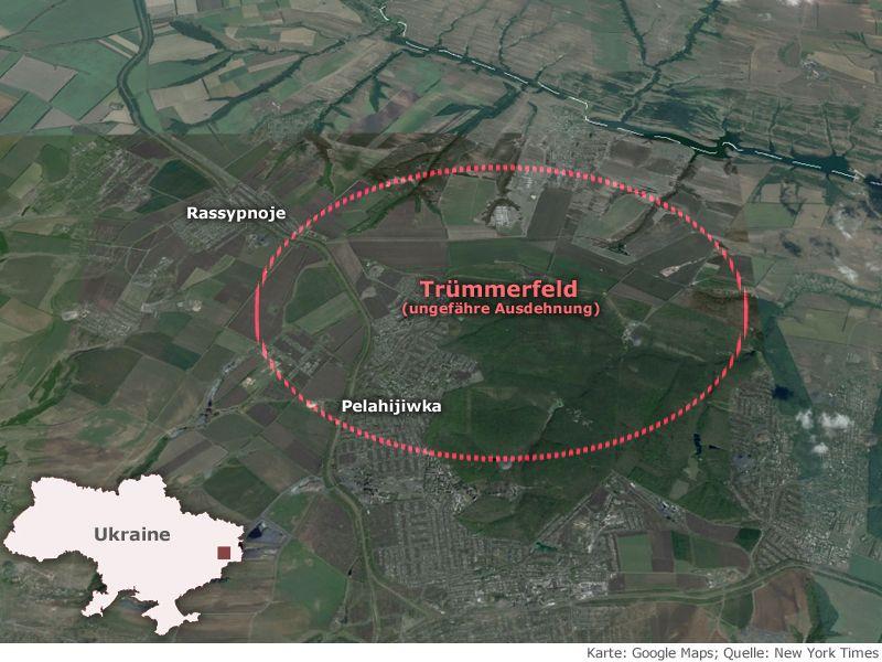 Trümmerfeld - Karte Absturz/ Malaysian/ Ukraine MH17