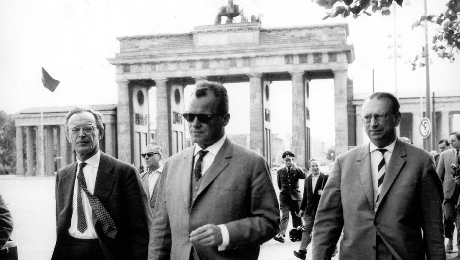 Willy Brandt in 1961, as mayor of West Berlin, inspecting a sector boundary some time before the East Germans began work on the Berlin Wall. Brandt would become a controversial chancellor of West Germany.