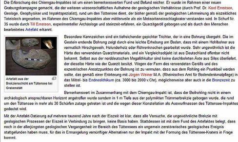 Wikipedia-Eintrag über den Chiemgau-Krater: Der Artikel wurde inzwischen entschärft. Hier die Version, die bis zum 9. Juli zu sehen war