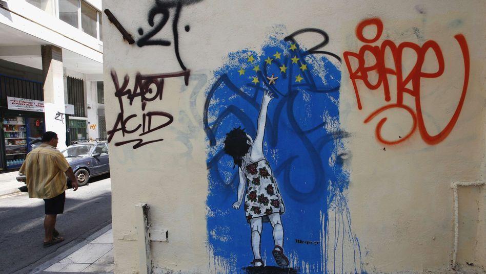 Graffiti in Athen: Griechenlands Ausschluss aus der Euro-Zone spart sieben Milliarden Euro