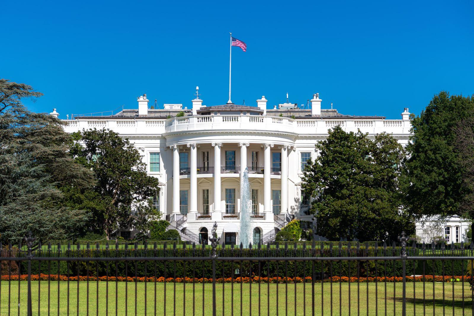 White House on deep blue sky background in Washington DC, USA.