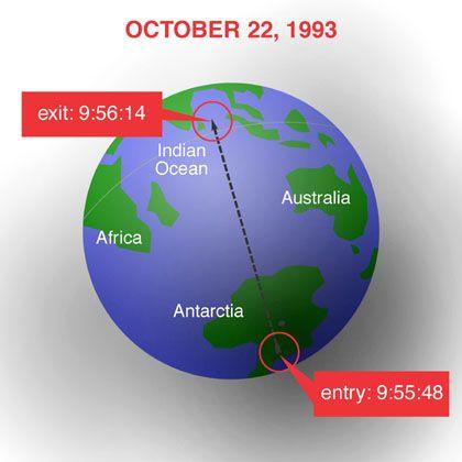 Hypothetischer Nugget-Einschlag am 22. Oktober 1993: Sprengkraft einer Vier-Kilotonnen-Bombe