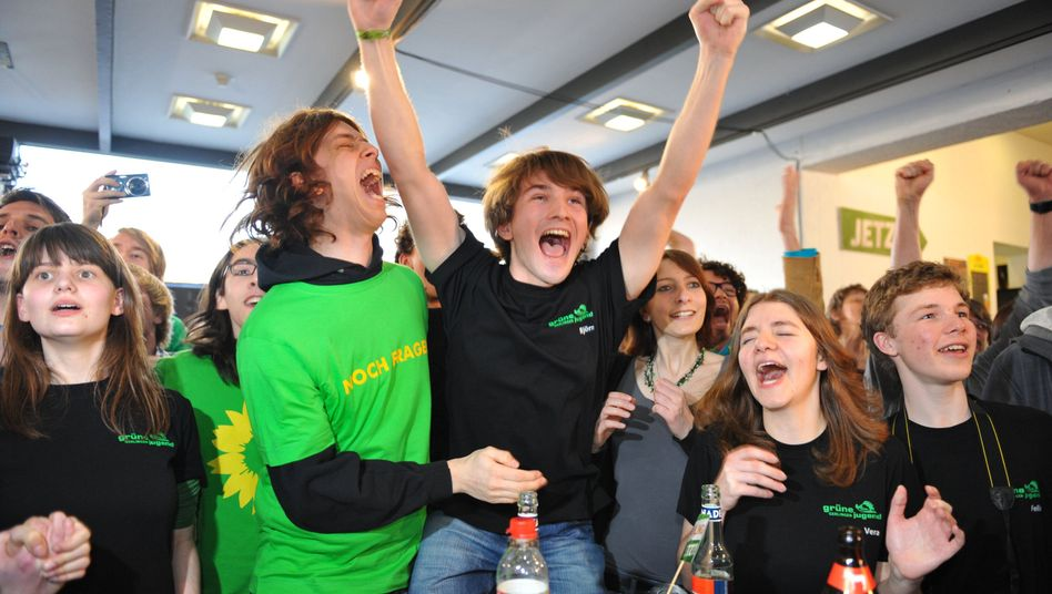 The Greens celebrate their historic victory in Baden-Württemberg on Sunday.