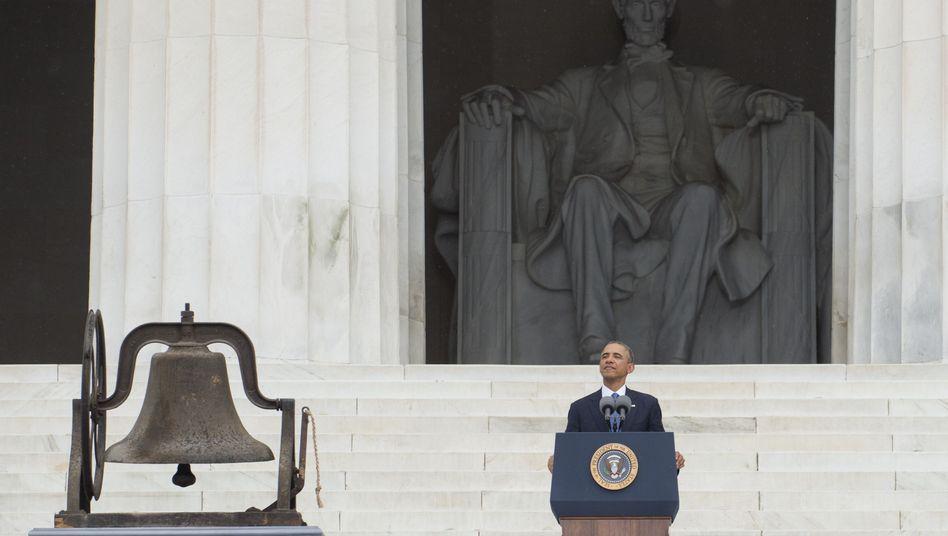 US-Präsident Barack Obama bei seiner Rede auf den Stufen des Lincoln Memorials