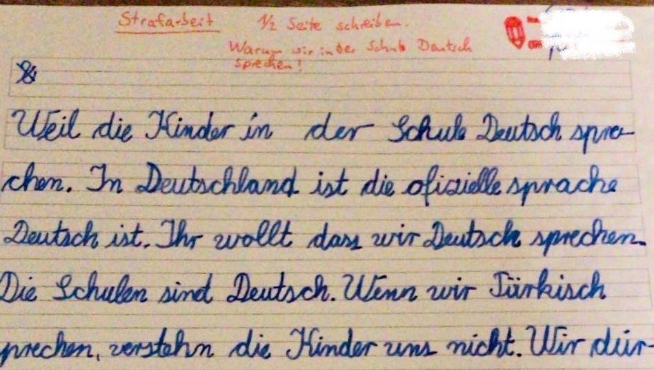"""""""Warum wir in der Schule Deutsch sprechen!"""": Strafarbeit für Neunjährige"""