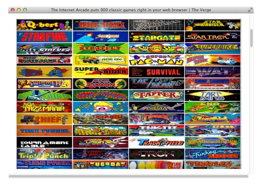 NUR ALS ZITAT Screenshot The Verge/ Internet Arcade