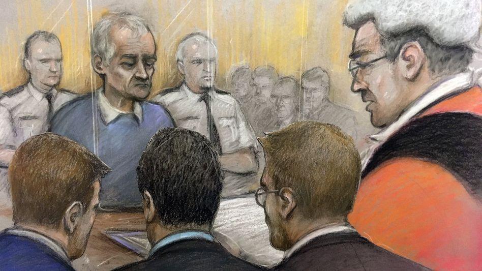 Gerichtszeichnung vom Prozess: Angeklagter Barry Bennell (im blauen Pullover)