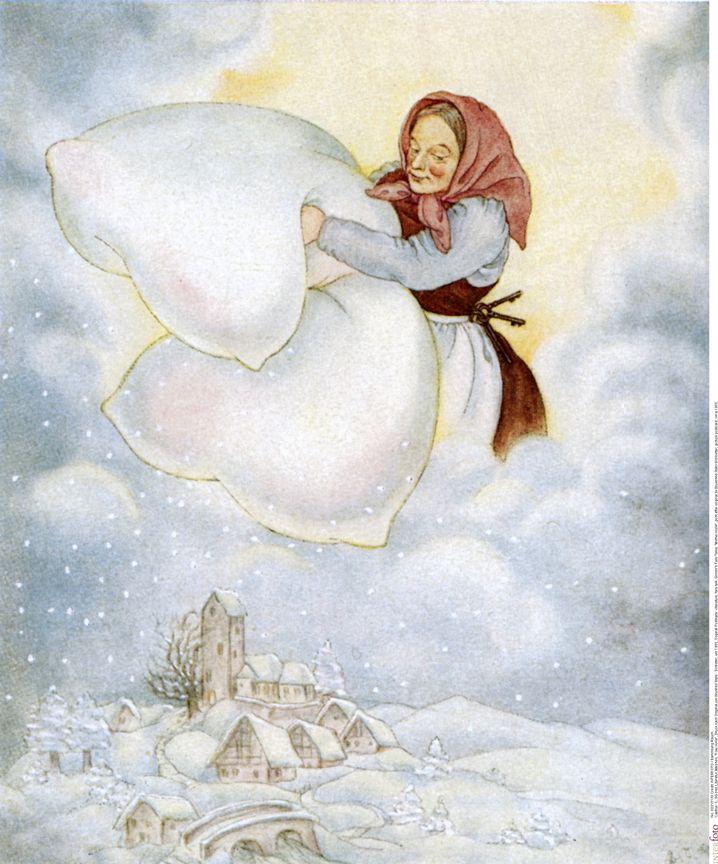 """""""Frau Holle""""-Darstellung (Postkarte um 1950): Wilde Jagd durch die Wolken"""