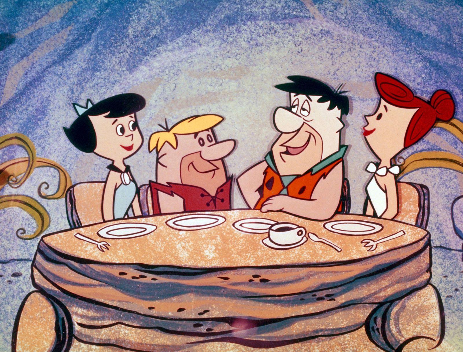 Betty Rubble Barney Rubble Fred Flintstone Wilma Flintstone The Flintstones circa 1960 Hanna